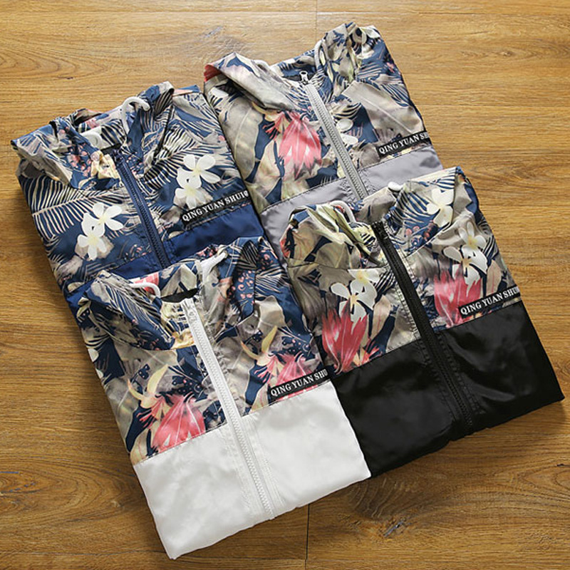 d10c2fcfe02 DAVYDAISY Mens Bomber Jacket Korean Style Slim Fit Floral Print Patchwork  Hooded Casual Hip Hop Coat Men Brand Clothing .