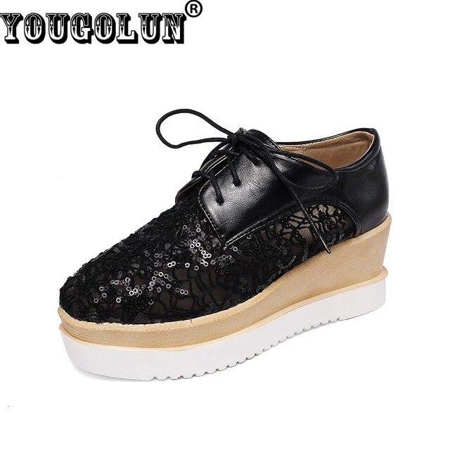 YOUGOLUN Elegant Flat Platform Shoes Women Casual Lace up Square toe Shoes Woman Sexy Lace Shoe Lady White Pink Blue Spring Shoe