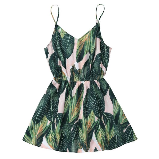 Women Mini Summer Leaf Print Sleeveless V Neck Spaghetti Strap Elastic Waist Dress
