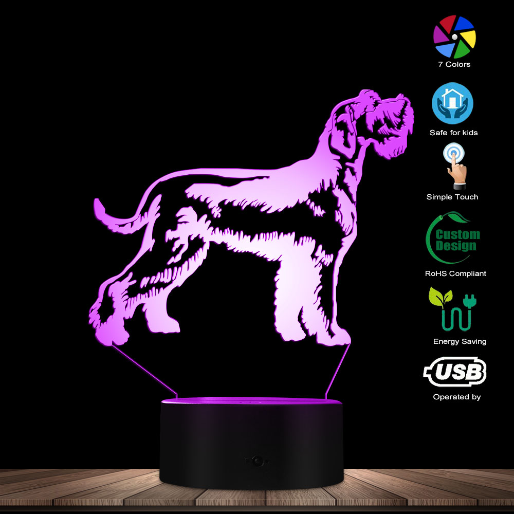 Custom Schnauzer Dog Standing Portrait Glowing LED Lamp Animal Puppy Purebred Hound Breed Pet Shop Decor Table Lamp Sleepy Light