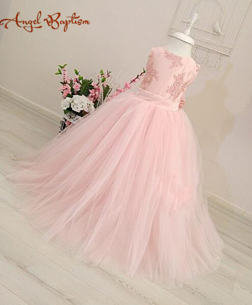 Puffy Long ball gown blush pink sheer lace flower girl dress newborn infant first birthday dress kid party prom gown for wedding 2017 summer newborn formal dress purple sleeveless infant baptism ball gown dress clothes for toddler girl first birthday party