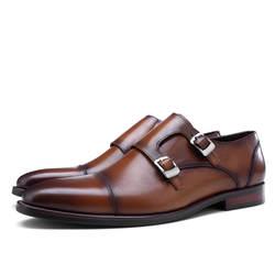 Модные черные/синие/коричневые мужские деловые модельные туфли с двойным ремешком из натуральной кожи, офисные туфли, мужские свадебные