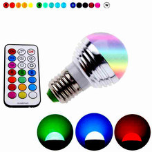 RGB E27 LED Bulb lights Spotlight  RGB Controller Energy Saving LED Lamp Dimmable Holiday RGB lighting+IR Remote Control TT