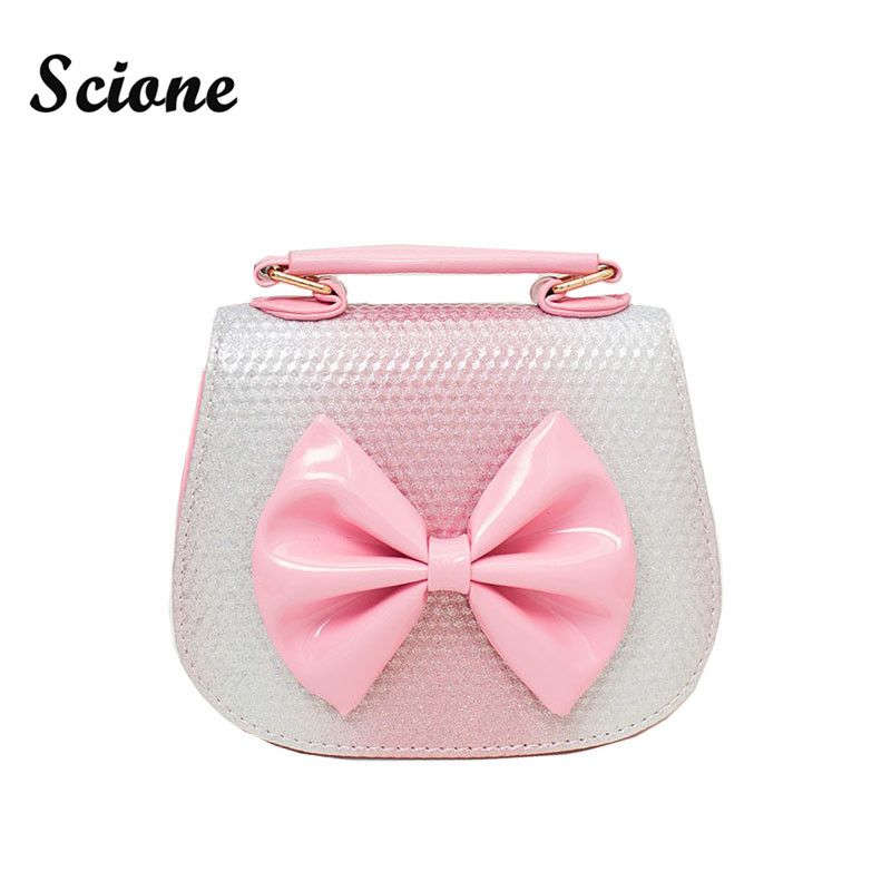Lovely Stereoscopic Bowknot PU Leather Messenger Bag Princess Package for Baby Girls Tote Bag Children Kindergarten