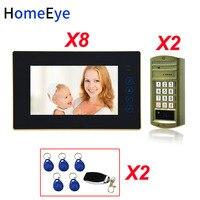 Password+ID Card+ Remote Unlock 7'' Video Door Phone Video Intercom Door Bell Home Access Control System For 2 Doors Waterproof