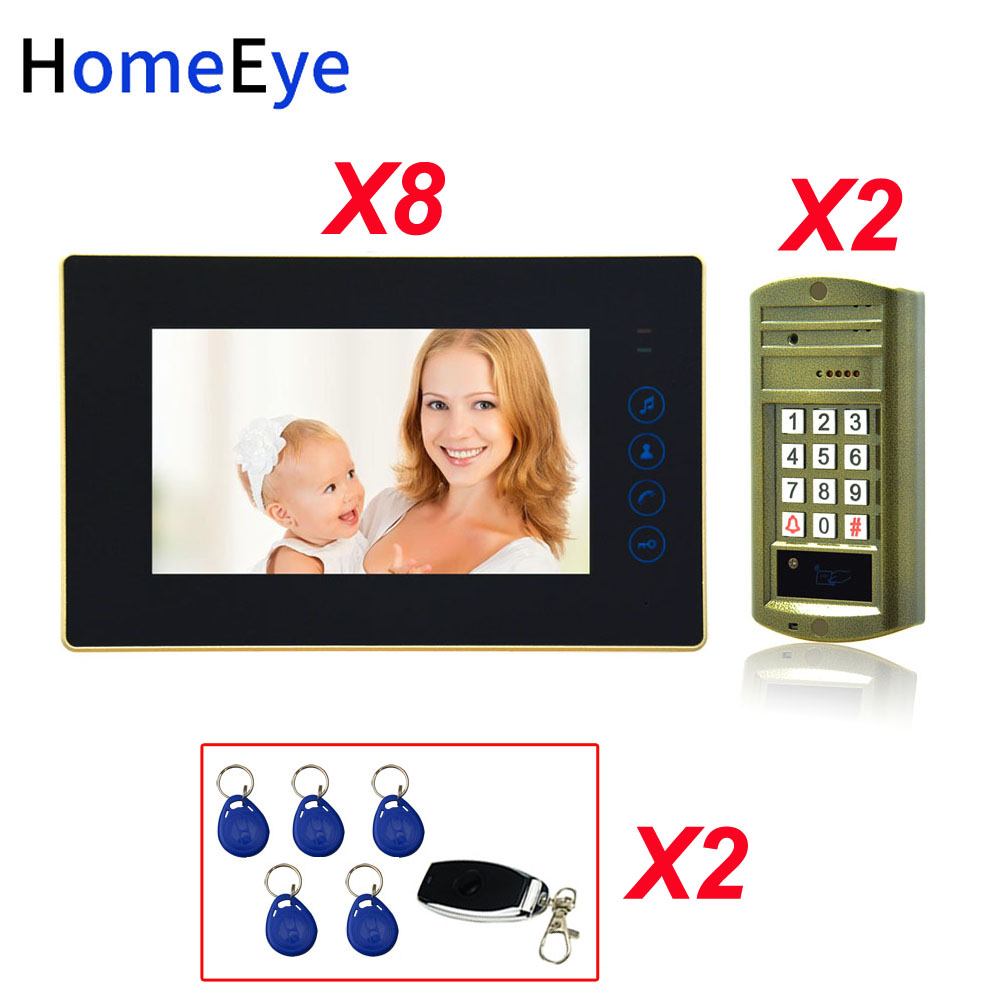 Password+ID Card+ Remote Unlock 7'' Video Door Phone Video Intercom Door Bell Home Access Control System For 2 Doors Waterproof
