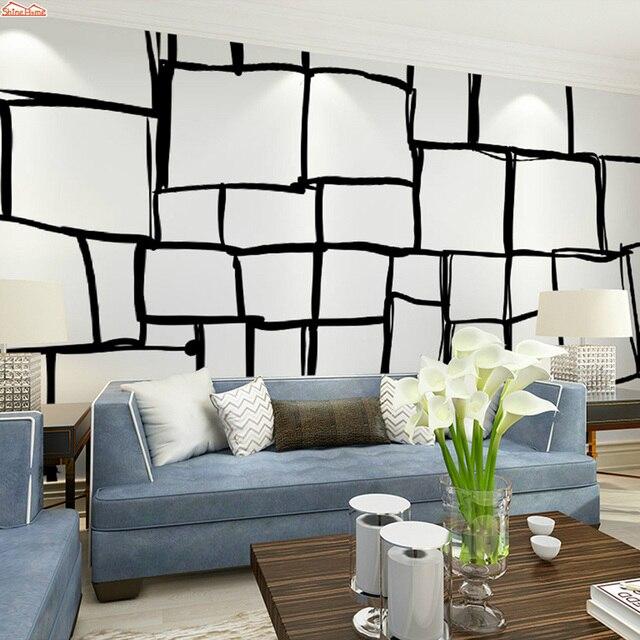 Shinehome Noir Blanc Brique Stetch Rouleau De Papier Peint 3d Fonds