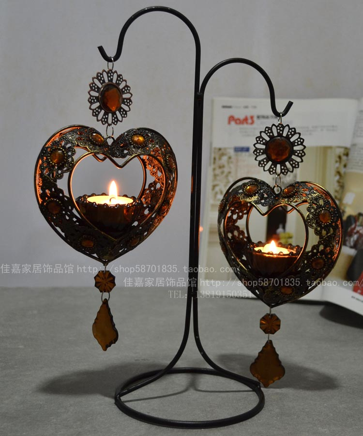 European classical metal iron candlestick Bohemia crystal glass hanging double love Candlestick ornaments