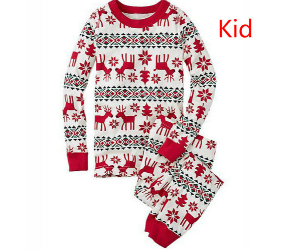 Семейный Рождественский пижамный комплект; одежда для мамы и ребенка; свитер с длинными рукавами и принтом+ штаны; комплект из 2 предметов; Семейные комплекты - Цвет: Kid