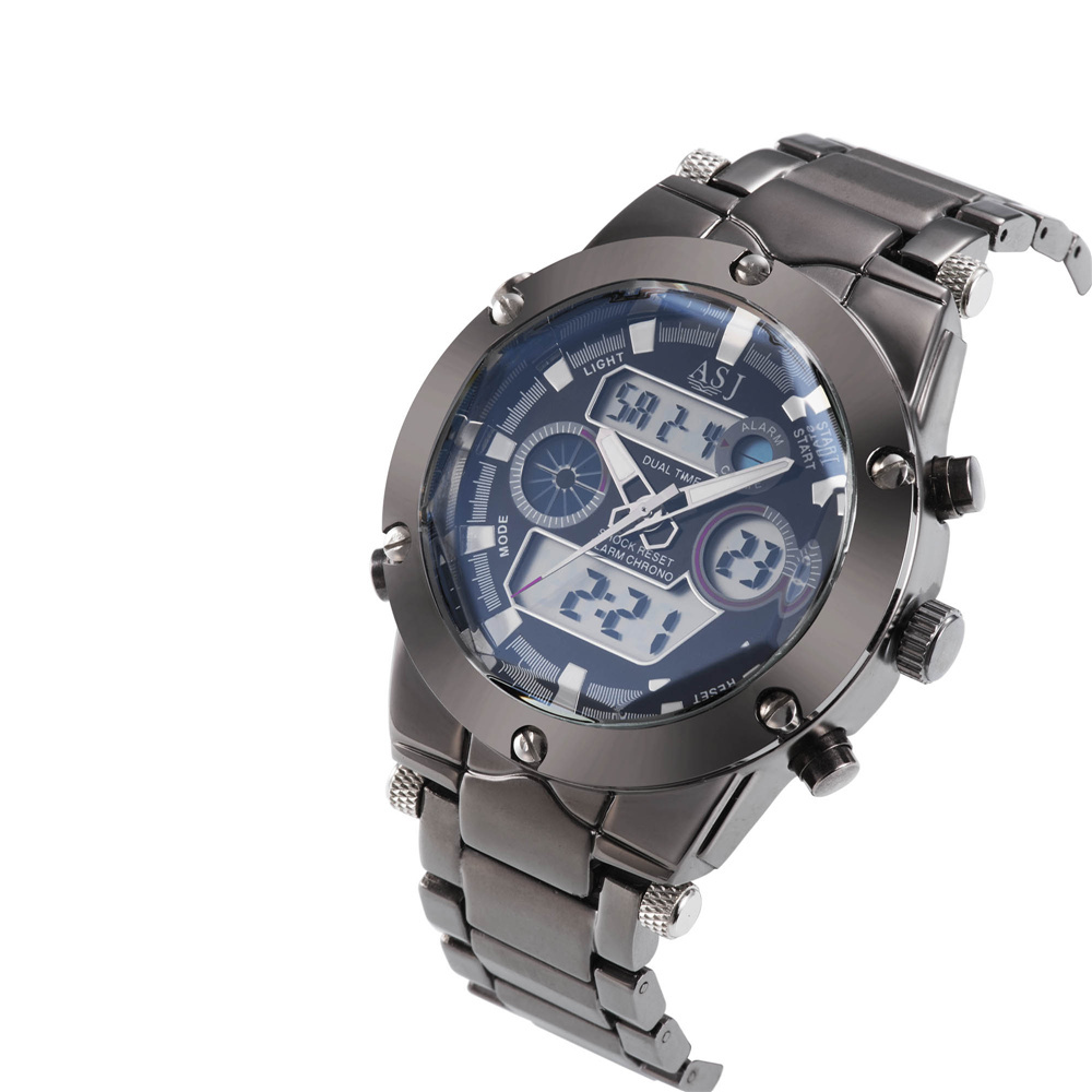 Men Watches Chronograph Dual-Time-Zones Quarzt Stainless-Steel Waterproof Alarm Sport