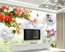 beibehang Home and rich peony nine fish figure 3D aesthetic fashion advanced seductive stereo TV background wall papel de parede beibehang advanced fashion aesthetic pvc papel de parede 3d wallpaper aesthetic beautiful water waves mural background 3d floor