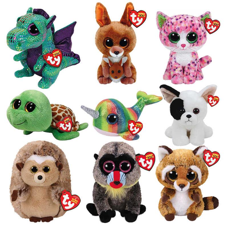 Ty бини Боос милые животные кукла Дракон Тигр кенгуру собака енот кошка черепаха бабон Ежик Нарвал плюшевые игрушки с биркой
