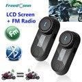Новая Обновленная Версия! 2 ШТ. BT Bluetooth Мотоциклетный Шлем Интерком Домофонных Гарнитура с ЖК-экраном + FM Радио