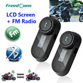 New Updated Version! 2PCS BT Bluetooth Motorcycle Helmet Intercom Interphone Headset with LCD screen + FM Radio