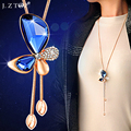 Collares Largos Butterfly Pendant Necklaces Sweater Chain Blue Gem Rhinestone Crystal Necklace Long Tassel Necklace Adjustable
