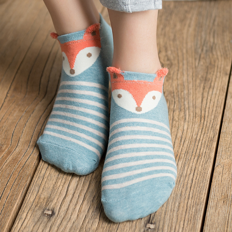 1pair New Christmas Gifts Cute Fox Soft Warm Cotton Socks woman autumn winter animal print ankle socks Happy Style 3D Sock meias