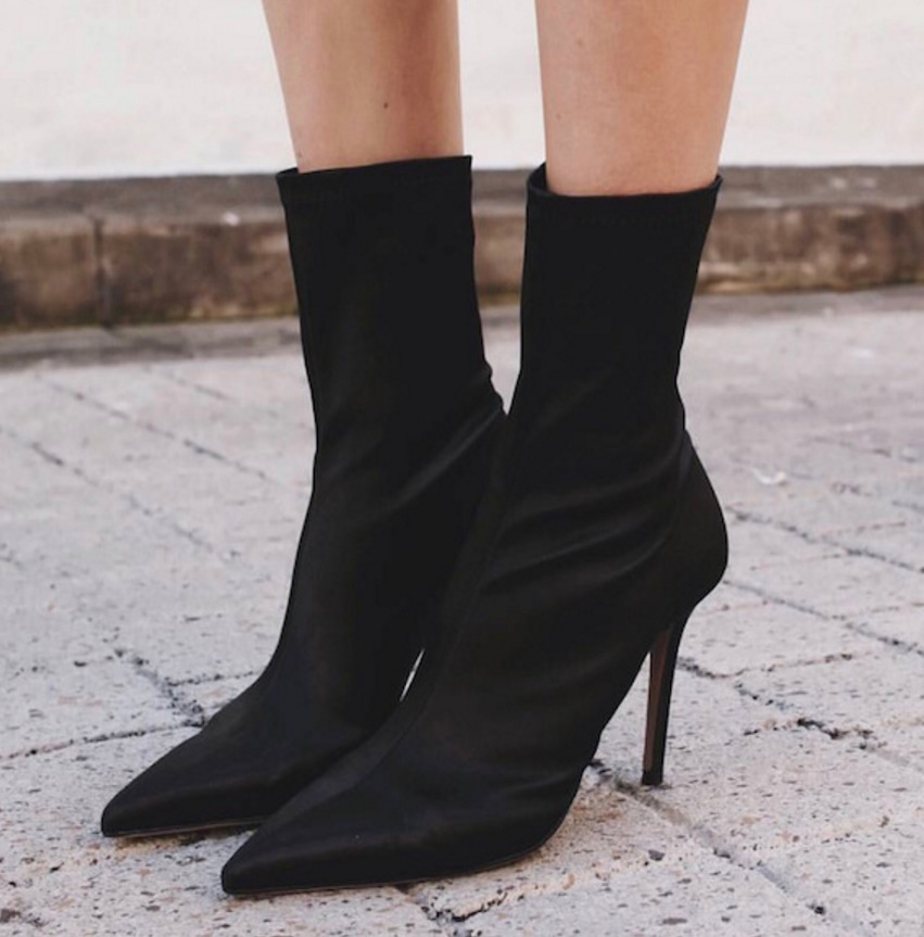 Stretch Fabric Women Sock Boots Pointed Toe Mid Calf Women