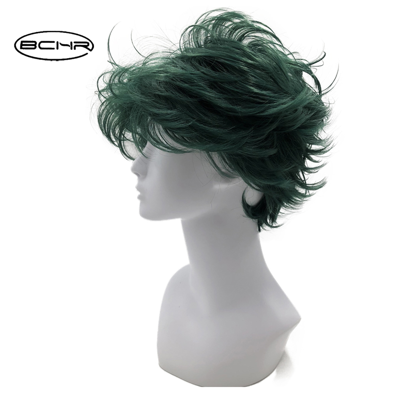 BCHR Short Dark Green Anime Cosplay Wig of valgus 6 Inch Heat Resistant Both Mens and Womens Full Synthetic Wigs