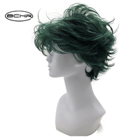 BCHR Short Dark Green Anime   Cosplay     Wig   of valgus 6 Inch Heat Resistant Both Men's and Women's Full Synthetic   Wigs