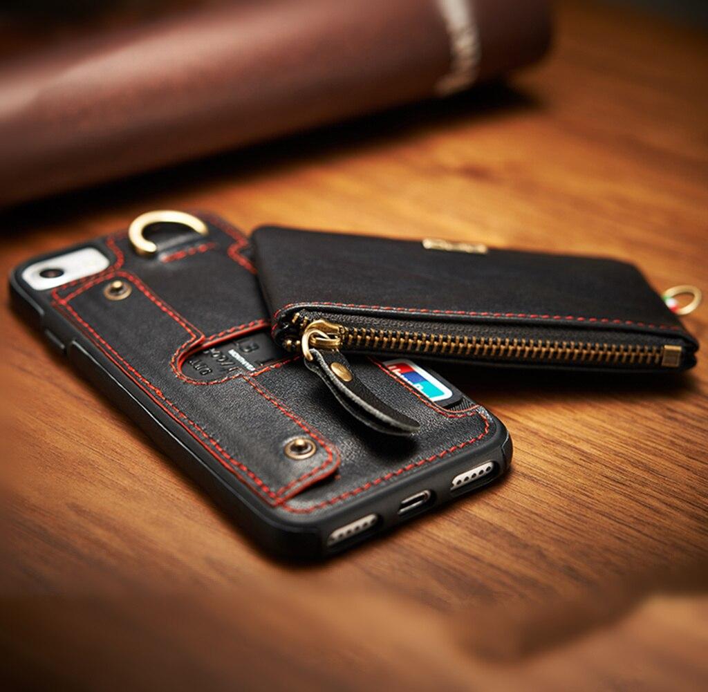 imágenes para Cuero Genuino de la vendimia Para iPhone 7 Plus Casos iPhone 6 6 S 6 Plus Plus Ranura Para Tarjeta Monedero Cubierta de Lujo 2 en 1 Desmontable Fundas