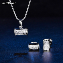 BUDONG Luxury Geometric Bijoux Jewelry Sets Cubic Zirconia Necklace Earrings Set for Women Engagement Jewelry Party Sets XUT052