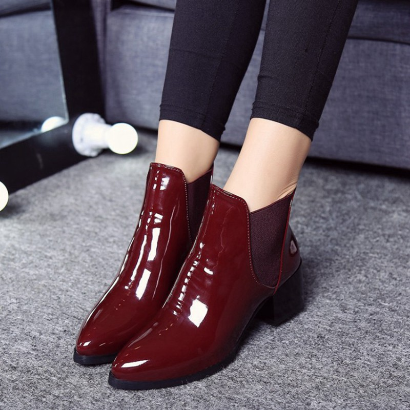 COOTELILI Comfortable 5cm High Heels Ankle Boots For Women Pointed Toe Warm Autumn Winter Shoes Women Pumps Red Black 35-39 (9)