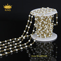 5 Meter Wholesale Fashion Wire Wrapped Rosary Chain,4mm Smooth Round White Pearl Beaded Chain Necklace Bracelet Jewelry LS-41
