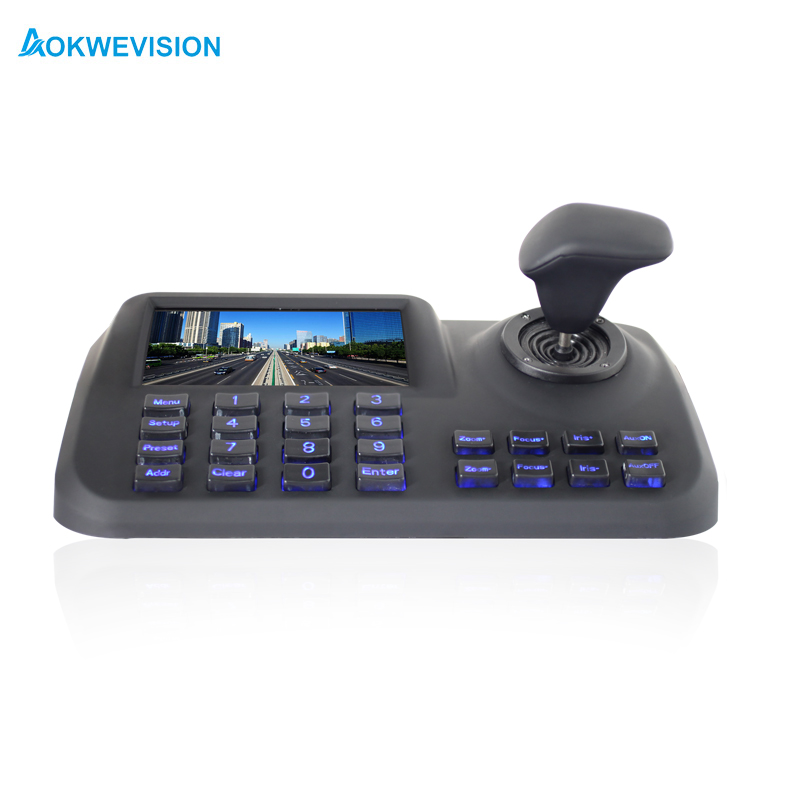 Onvif 3D CCTV IP PTZ controller IP PTZ joystick IP PTZ keyboard with 5 inch LCD screen for IP PTZ camera