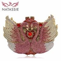 April 2016 New Women Luxury Animal Crystal Evening Handbag Swan Shape Diamonds Clutch Party Bag Wedding