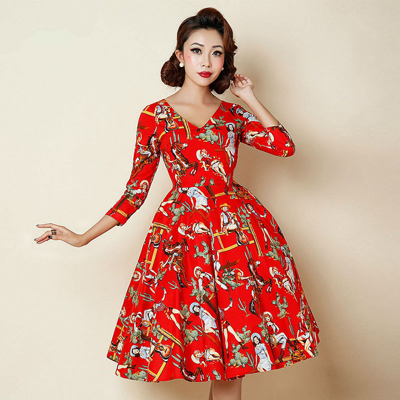 Cool Buy 2015 New Fashion Women Dress Summer Three Quarters Sleeves Dresses