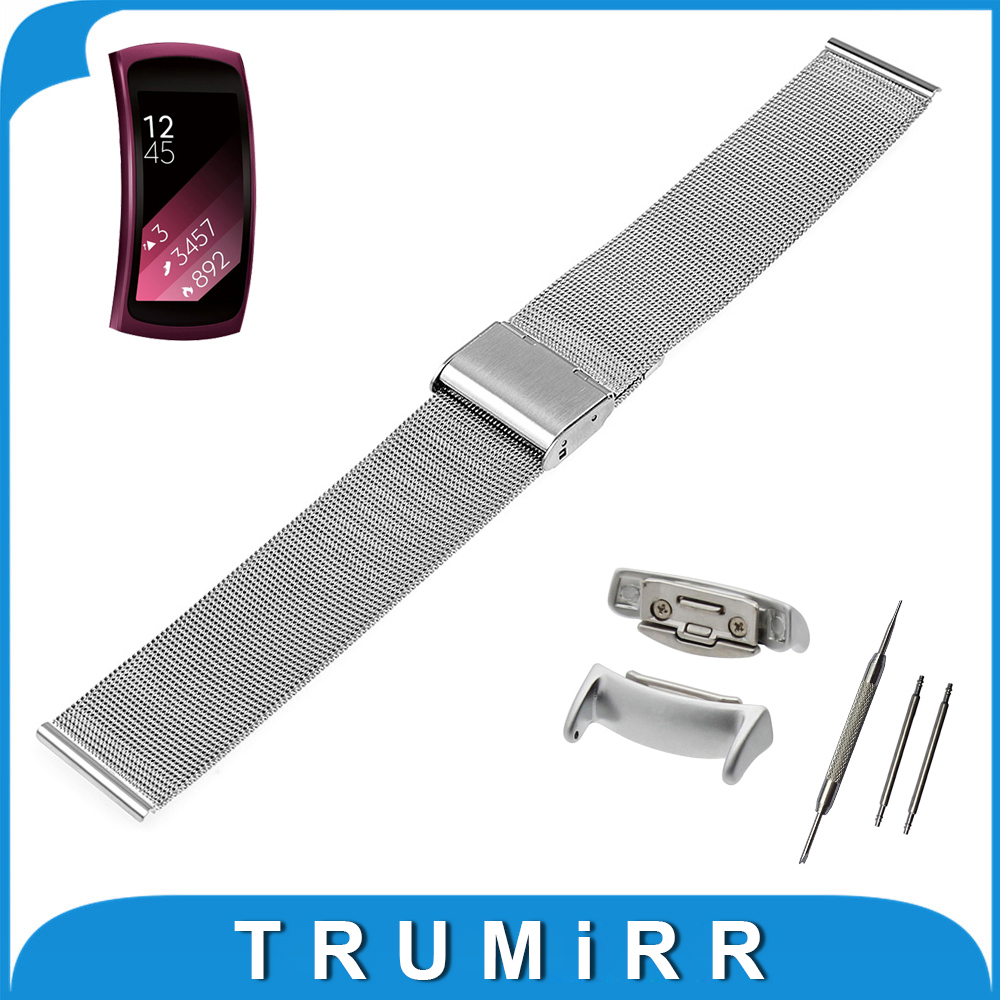 18mm Milanese Watchband + Adapters for Samsung Gear Fit 2 SM-R360 Smart Watch Band Mesh Stainless Steel Strap Link Bracelet 20mm watch band milanese mesh stainless steel strap bracelet for samsung gear s2 classic sm r7320 moto 360 2 2nd gen 42mm 2015