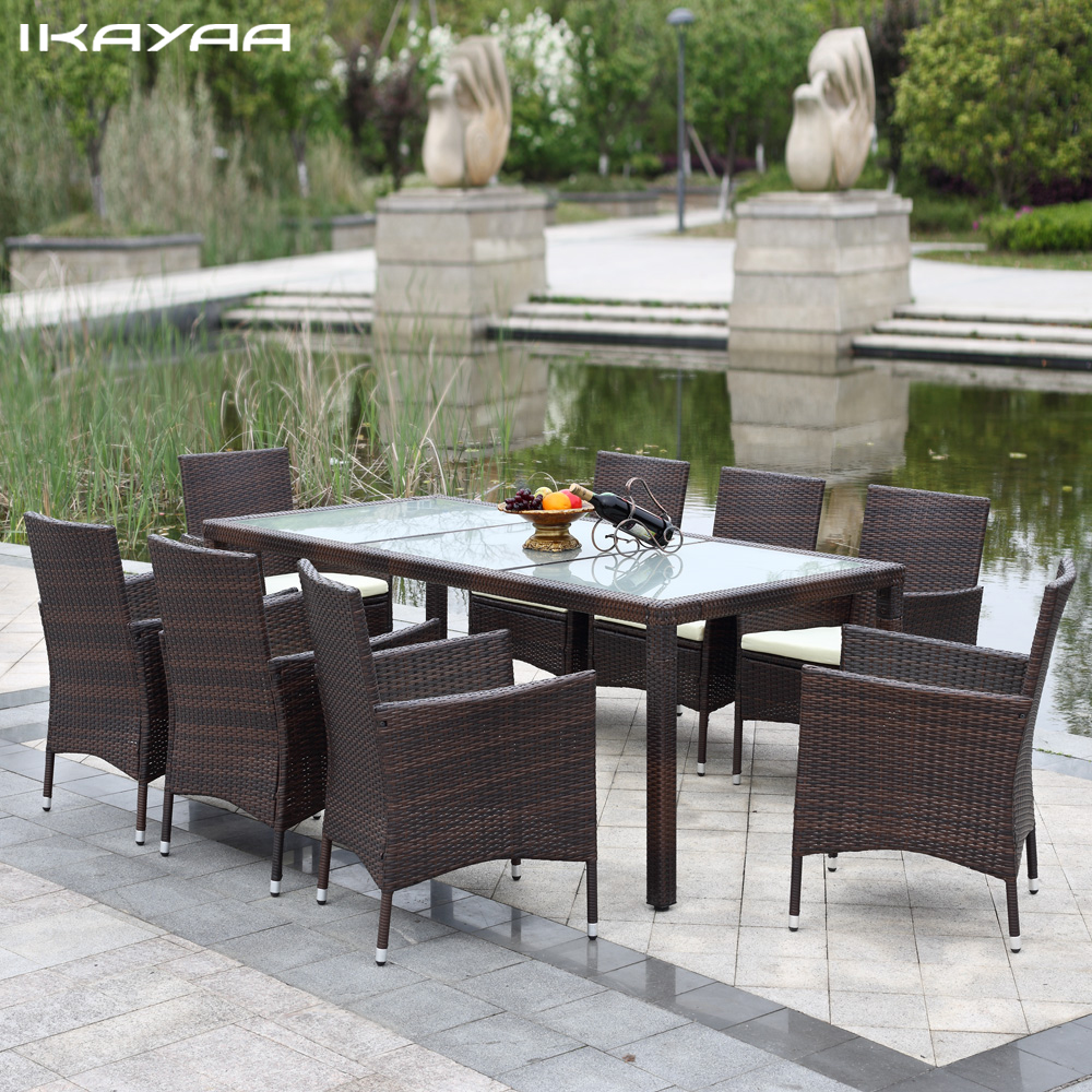 IKayaa US Stock 9PCS Rattan Outdoor Dinning Table Chair Set Cushioned  Garden Patio Furniture Set Mobili