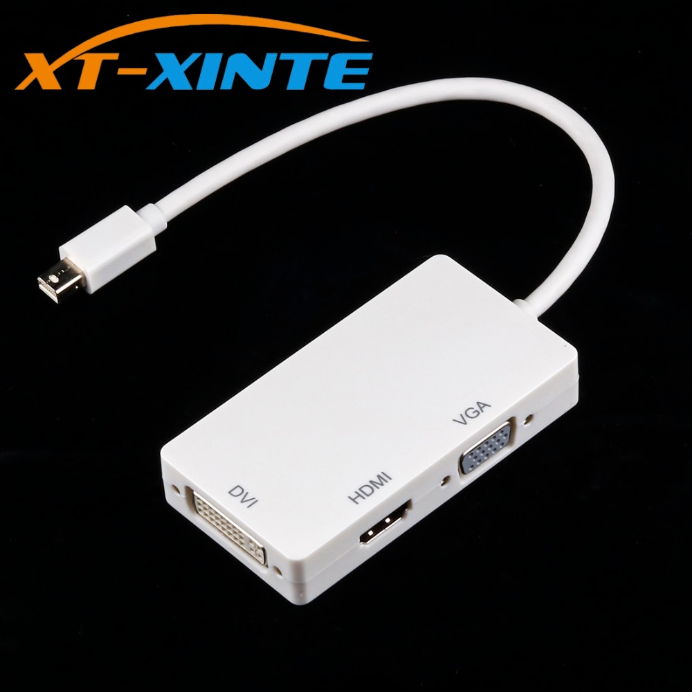 3 in 1 Mini Display Port DP Male to HDMI DVI VGA Cable Adapter Converter Support 1080P Thunderbolt for Apple Macbook Pro Dell цена и фото