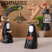 No Face Man Miyazaki Ornaments Night Light Japanese Groceries Resin Hand Made Crafts Study Lamp For
