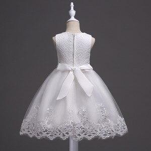 Image 2 - 素敵なレースアップリケビーズ真珠フラワーガールドレスキッズイブニングドレス結婚式初聖体服vestido 1 10Years