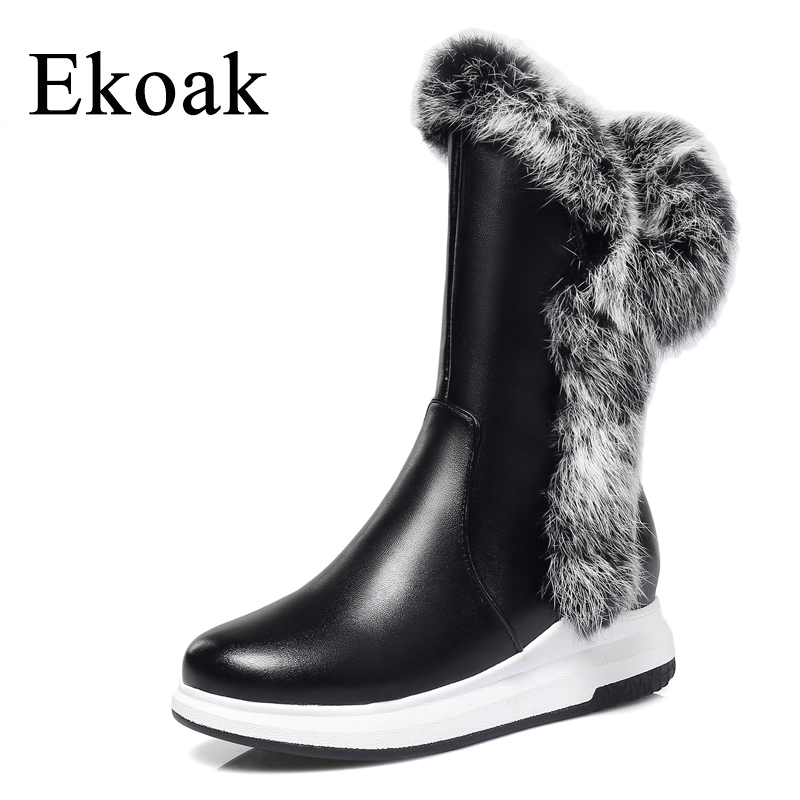 Ekoak Fashion Rabbit Fur Women Boots Winter Shoes Woman Warm Plush Snow Boots Mid-Calf Leather Boots Ladies Platform Shoes