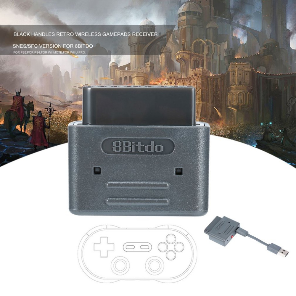 New Black Handles Retro Wireless Gamepads Receiver SNES For Video Game Version For 8Bitdo PS3 PS4 for Wii mote