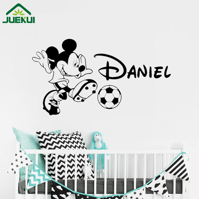 Personalized Mickey Mouse Wall Decal Soccer Custom Name Boy Cartoon Vinyl Sticker Poster Nursery Art Decor