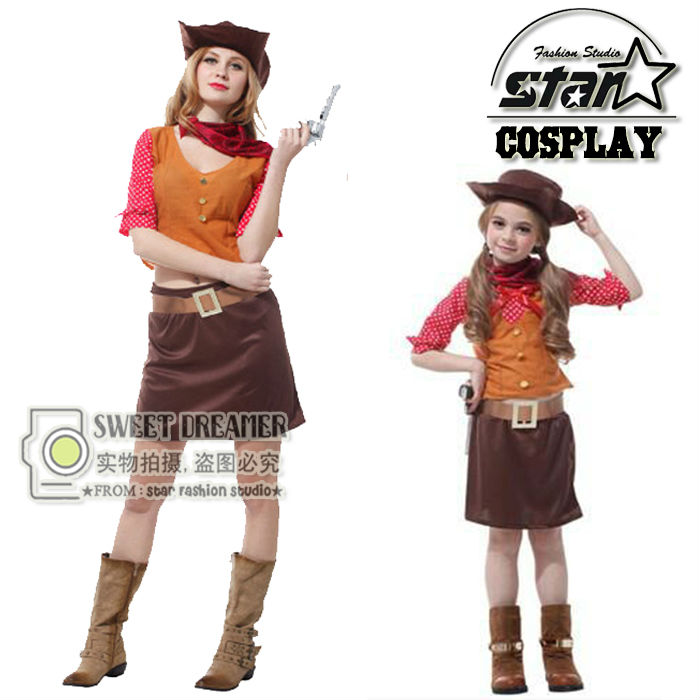 mxl fancy western pretty cowgirl cosplay halloween family matching costumes carnival dress up party - Halloween Costumes Matching