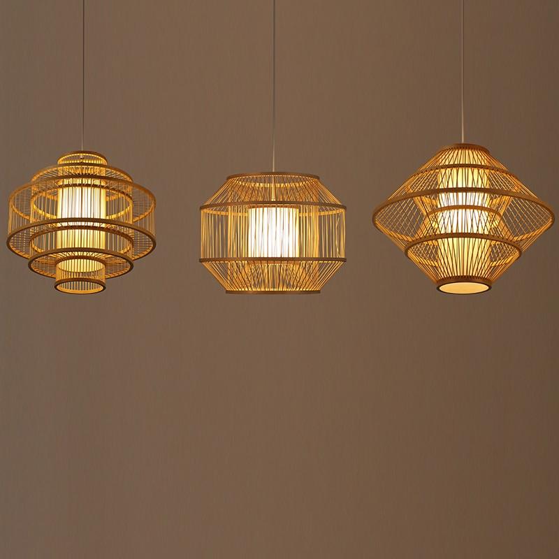 Japonês de Bambu Arte Pingente Luzes LED Mão Tricô Pingente Lâmpadas Restaurante Sala de estar Corredor Home Deco Interior Lâmpada Pendurada|Luzes de pendentes| |  - title=