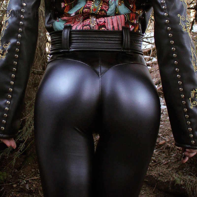 BORNPAVI Moda Punk Faux Pu Leggings De Couro Das Mulheres Sexy Push Up Preto de Cintura Alta Calças Femininas de Inverno Calças de Outono Leggings