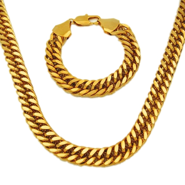 Thick Yellow Gold Filled Double Curb Chain Solid Heavy Mens Necklace Bracelet Set
