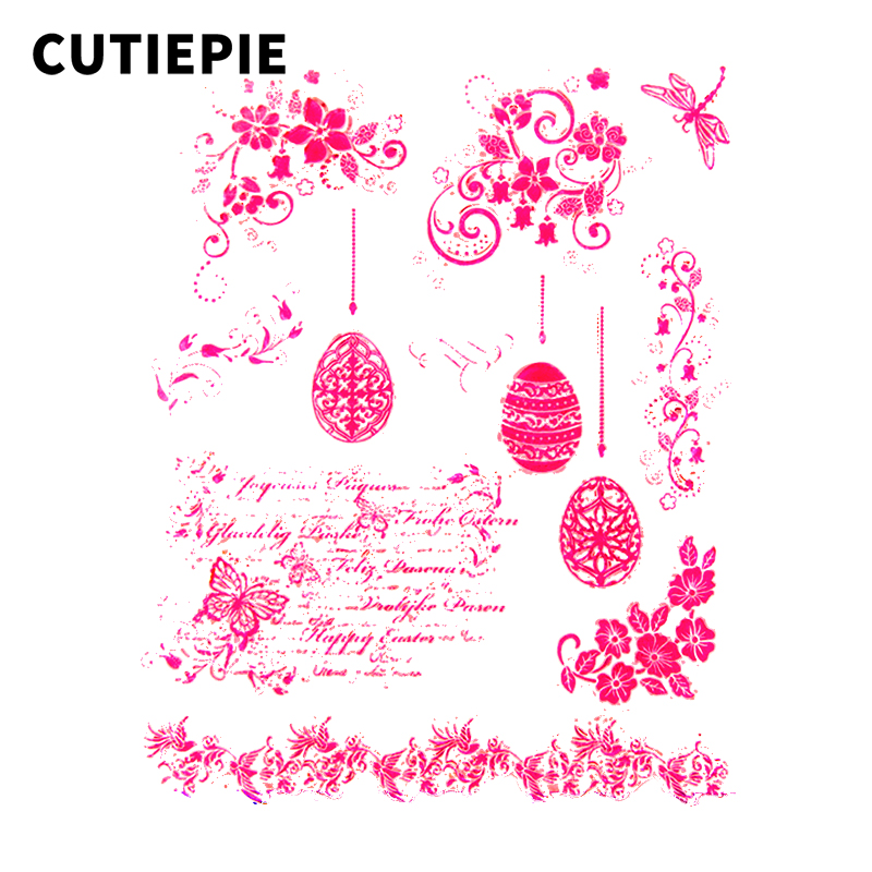 Falling Egg Butterfly Text Transparent Clear Silicone Stamps for Scrapbooking Seal Photo Album Embossing DIY Card Paper Stencils