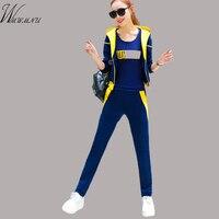 WMWMNU Kadınlar Set 2017 Bahar Sonbahar Bahar Kadın Eşofman Eğlence Takım Elbise Artı Boyutu Üç Parçalı Kadın Pamuk Kadife Eşofman