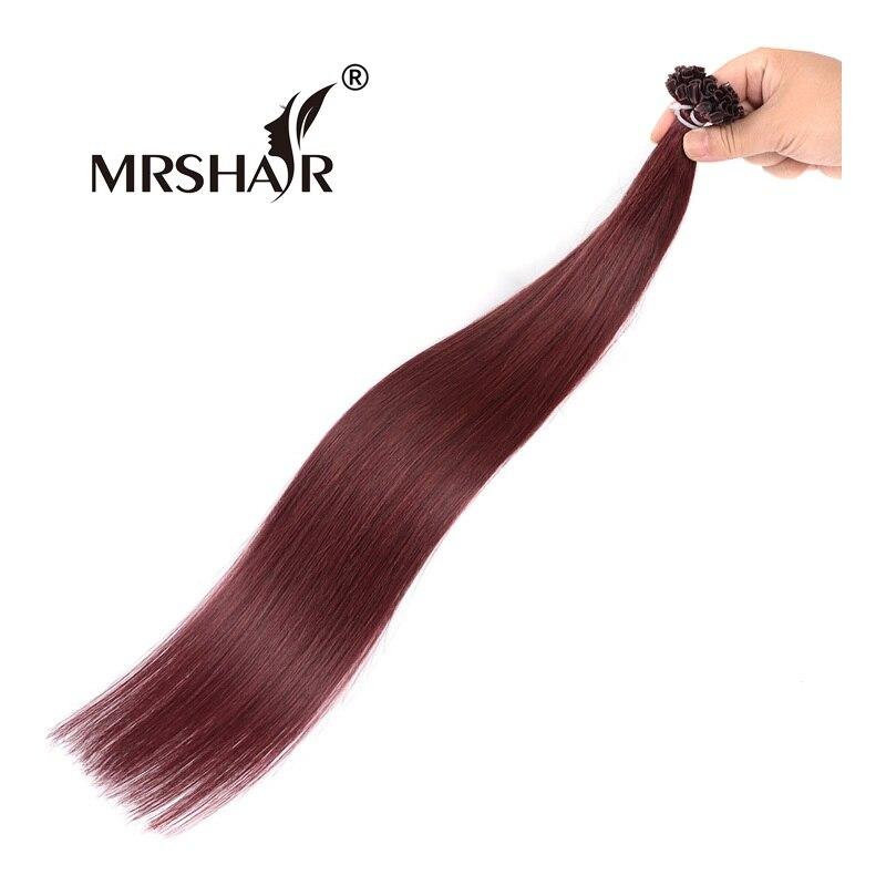 MRSHAIR 99J Burgundy Hair Extensions U Tip 1g pc 16 20 24 Non Remy Pre Bonded