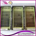 O envio gratuito de 10 bandejas/lote, extensão sobrancelha, preto, marrom escuro, med marrom, luz marrom 5-6-7-8mm, 0.10, 0.15,