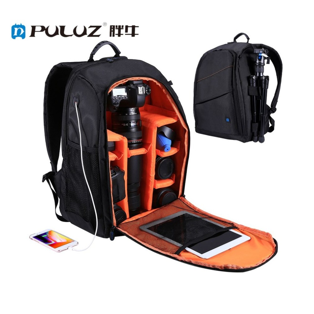 PULUZ Camera Bag Portable Waterproof Scratch proof Dual Shoulders Backpack with Charging Port for Outdoor Travel