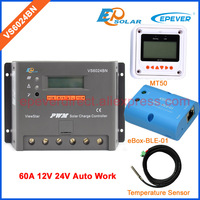 EPSolar 60a 24 В epever Солнечный Мощность контроллер Bluetooth функция датчик температуры кабель и mt50 дистанционного метр vs6024bn