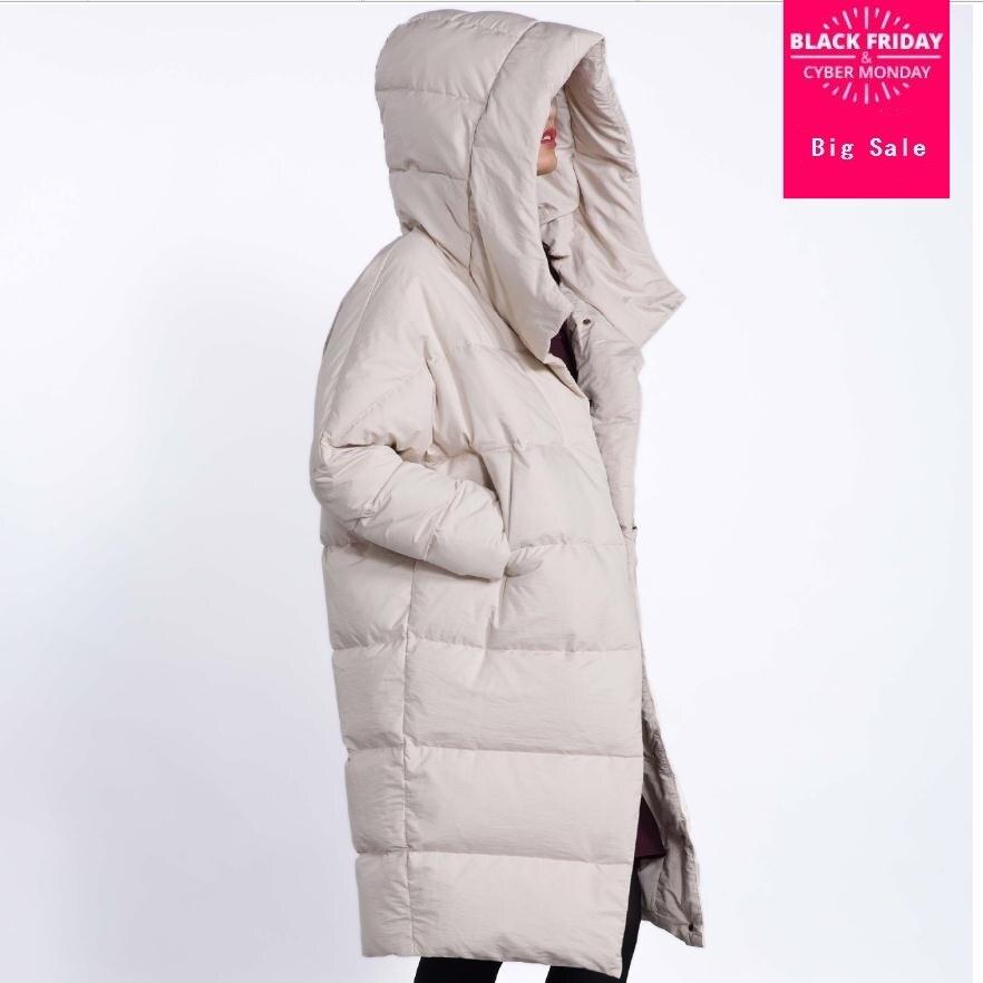 Hiver fahion marque de bonne qualité sur le genou plus 90% duvet de canard manteau femelle plus la taille unique poitrine chaud vers le bas parkas wq132