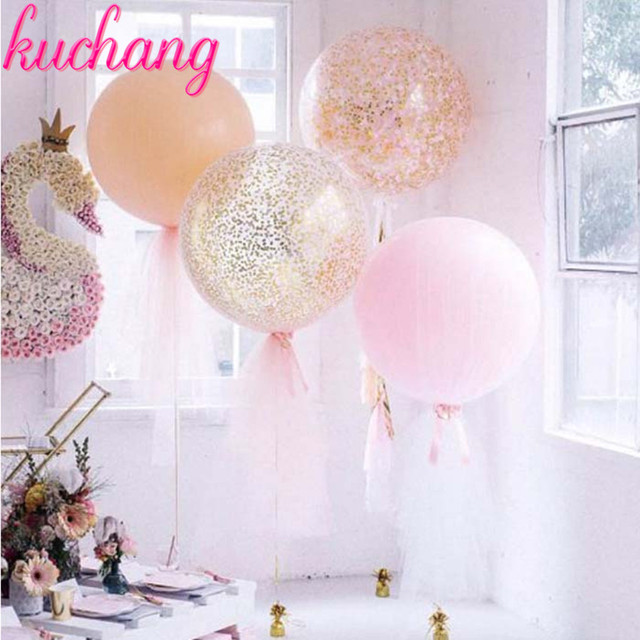 1pcs 36inch big size golden confetti latex balloon pink balloon adult wedding decoration adult happy birthday party balloons toy